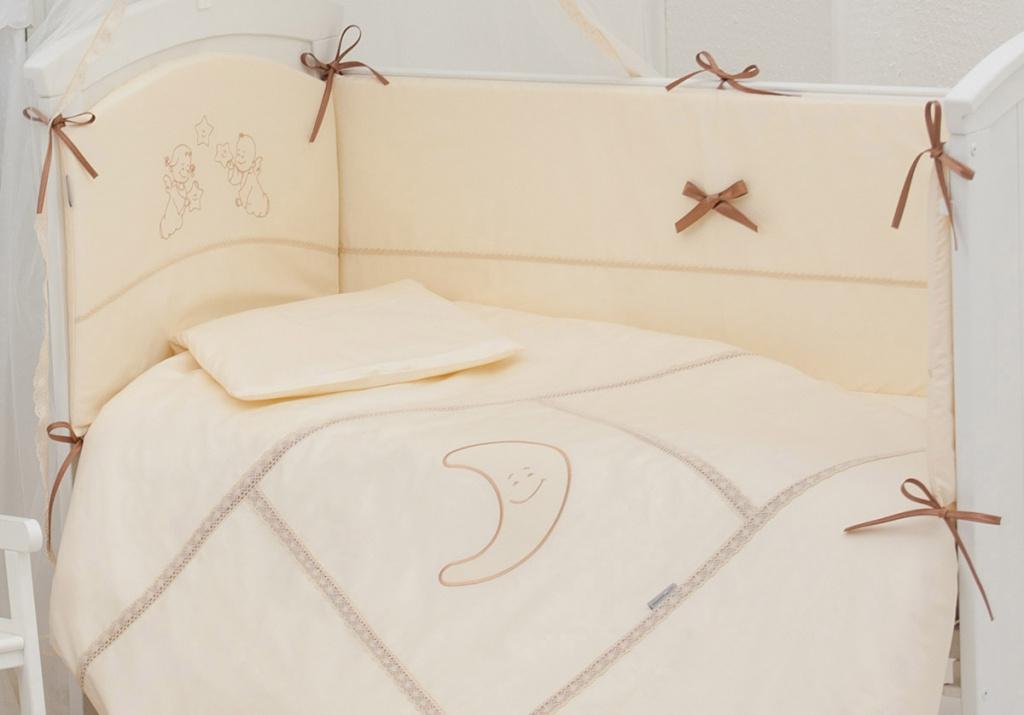 Бампер в кроватку - Волшебная сказка, бежевый, евро, 380 х 45