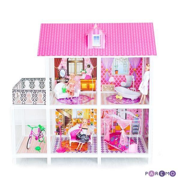 2-этажный кукольный дом, 4 комнаты, мебель, 3 куклы, велосипедКукольные домики<br>2-этажный кукольный дом, 4 комнаты, мебель, 3 куклы, велосипед<br>