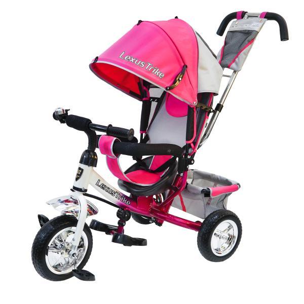 Купить Велосипед 3-колесный, цвет – розово/белый, с полимерными колесами 10 и 8 дюймов, регулируемая спинка, задний тормоз, Lexus Trike