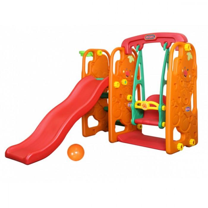Игровой центр Карапуз с качелями, музыкальной панелью, горкой и баскетбольным кольцом - Детские игровые горки, артикул: 161464