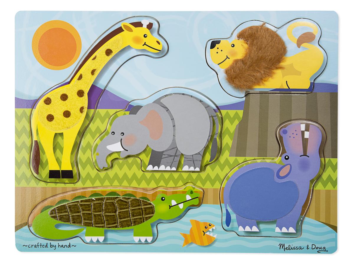 Мои первые пазлы из серии Потрогай и почувствуй - Зоопарк, 5 элементовПазлы для малышей<br>Мои первые пазлы из серии Потрогай и почувствуй - Зоопарк, 5 элементов<br>