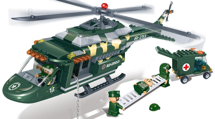 Конструктор с аксессуарами - Военный вертолёт-спасательКонструкторы BANBAO<br>Конструктор с аксессуарами - Военный вертолёт-спасатель<br>