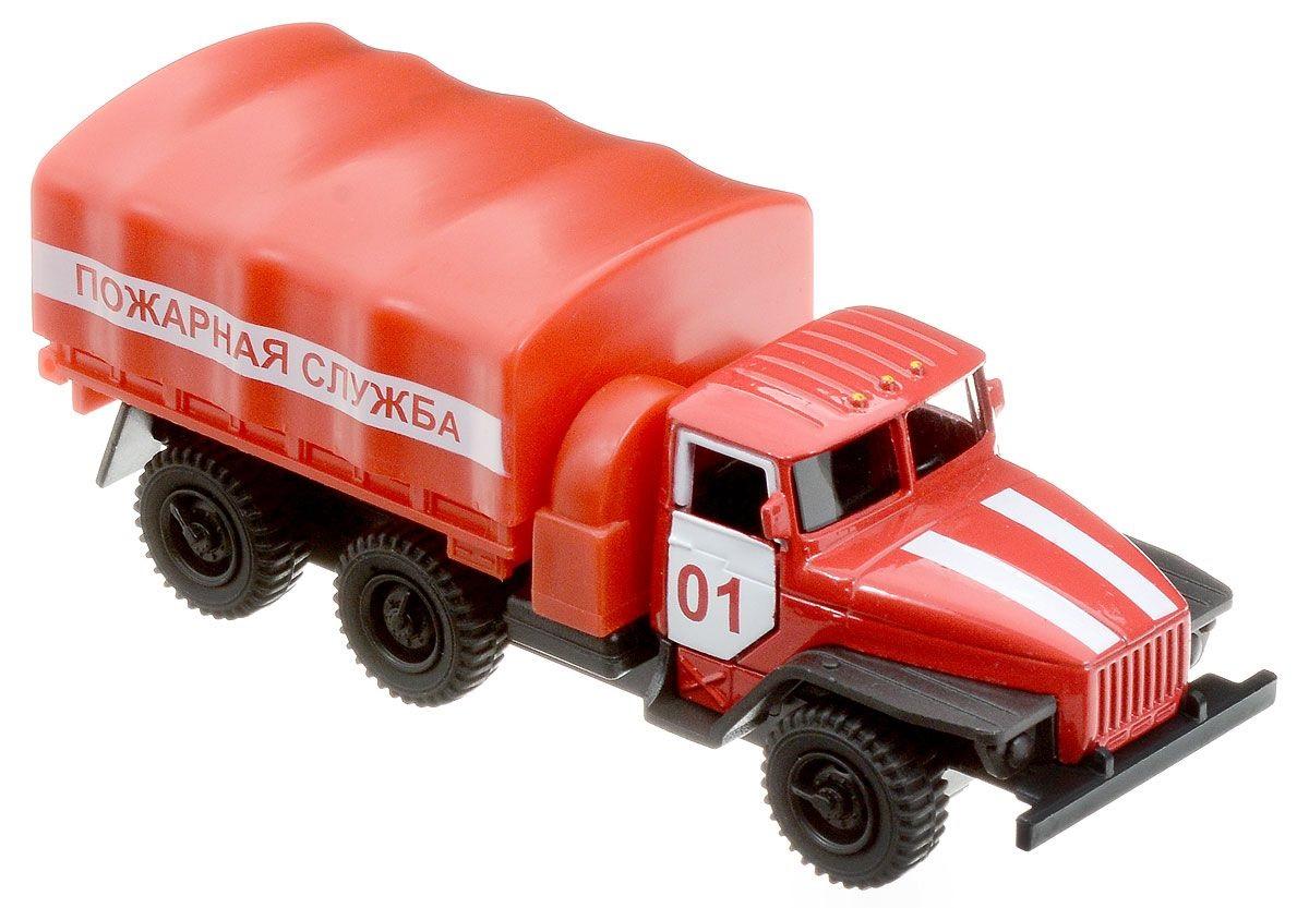 Машина металлическая инерционная - Урал - Пожарная машина, 12 смПожарная техника, машины<br>Машина металлическая инерционная - Урал - Пожарная машина, 12 см<br>