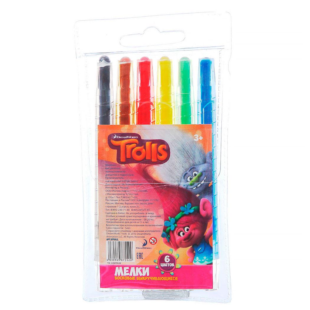 Мелки восковые выкручивающиеся Тролли, 6 цветовМелки<br>Мелки восковые выкручивающиеся Тролли, 6 цветов<br>