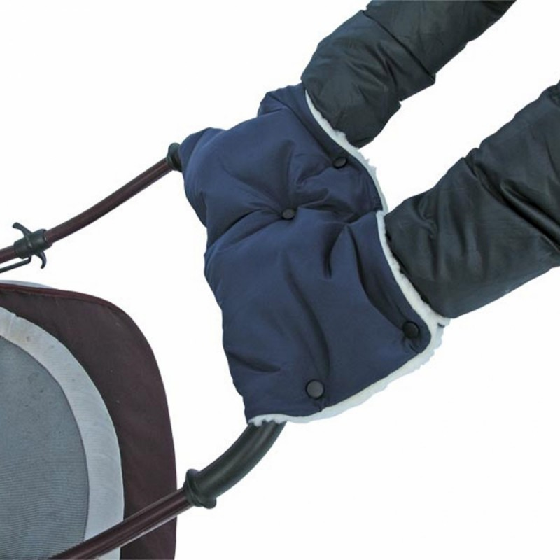 Купить Муфта для рук на коляску. Ткань темно-синяя, мех белый, Moze
