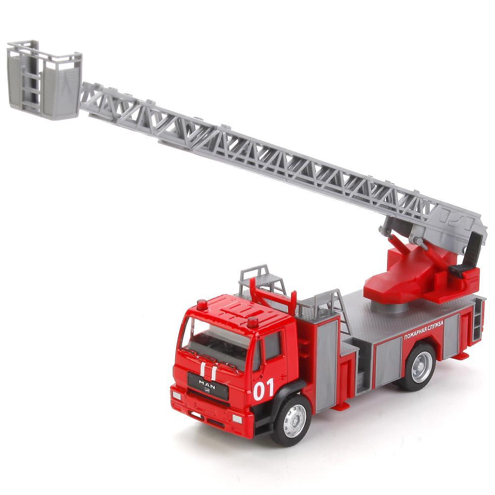 Купить Пожарная машина с аксессуарами, 15 см, металлическая, Технопарк
