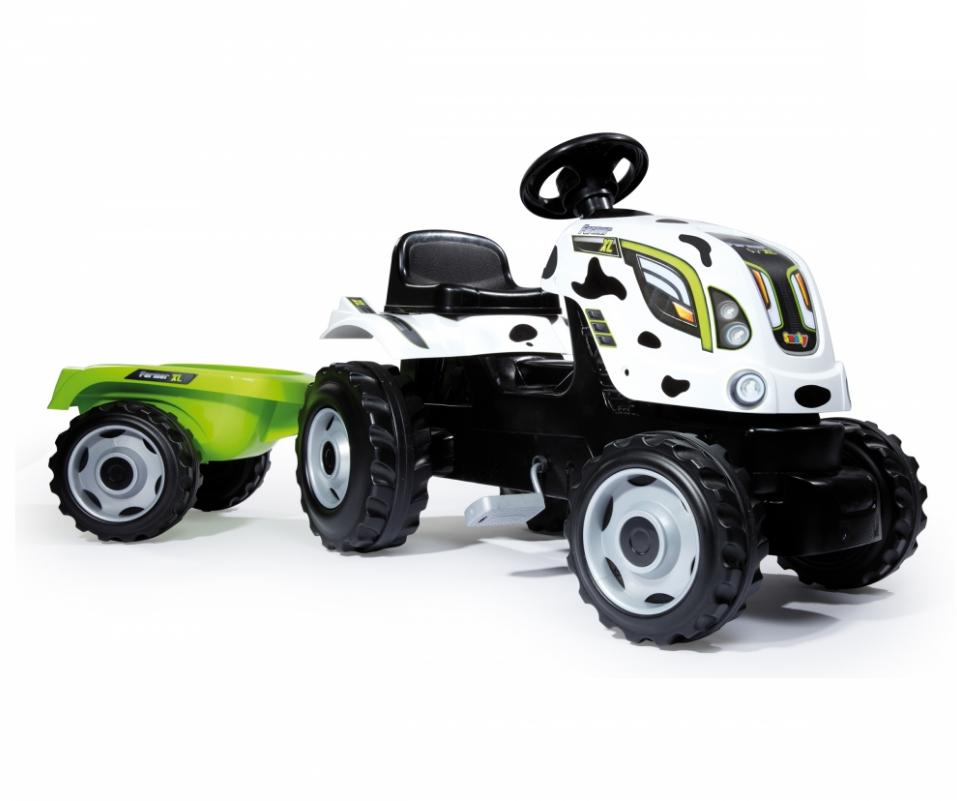 Трактор педальный XL с прицепом, пятнистыйПедальные машины и трактора<br>Трактор педальный XL с прицепом, пятнистый<br>