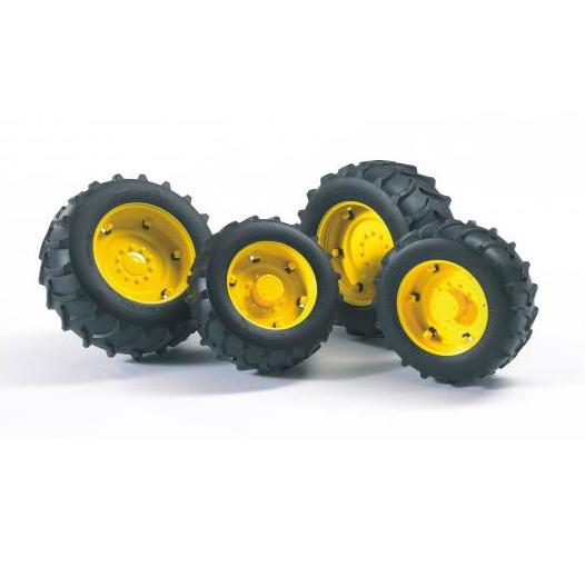 Bruder. Шины для системы сдвоенных колес с желтыми дисками фото