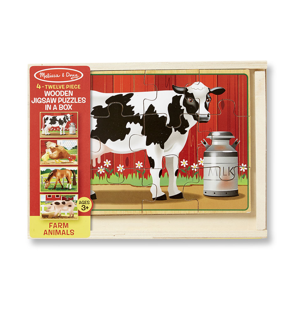 Купить Деревянный пазл в коробке - Животные с фермы, Melissa&Doug