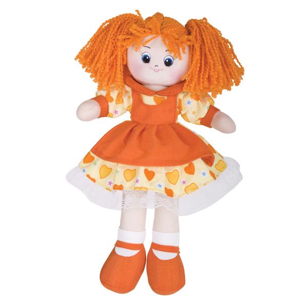 Кукла Апельсинка в платье с сердечками, 40смМягкие куклы<br>Кукла Апельсинка в платье с сердечками, 40см<br>
