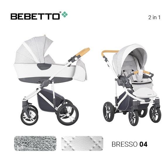 Детская коляска Bebetto Bresso 2 в 1, белая/bia 04Детские коляски 2 в 1<br>Детская коляска Bebetto Bresso 2 в 1, белая/bia 04<br>