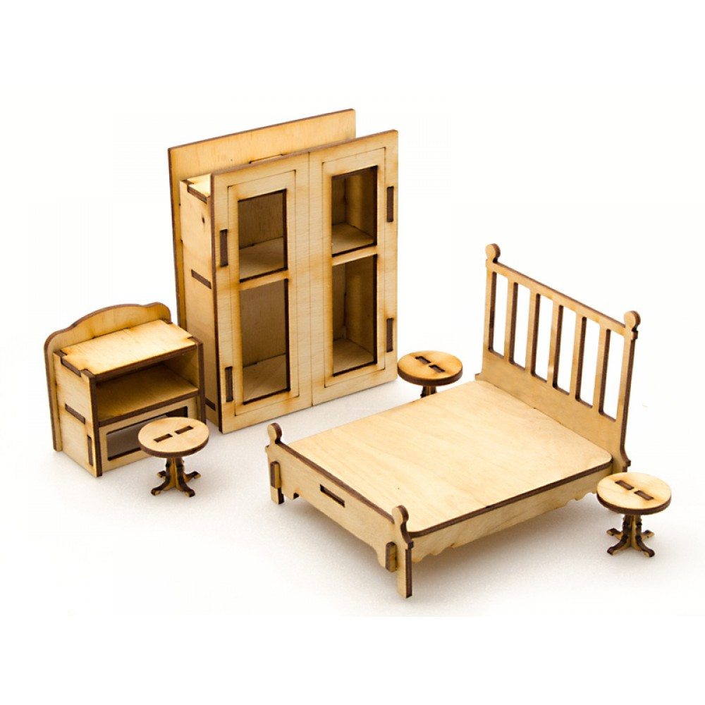 Сборная деревянная модель для кукольного домика - Спальня, 6 позиций по цене 199