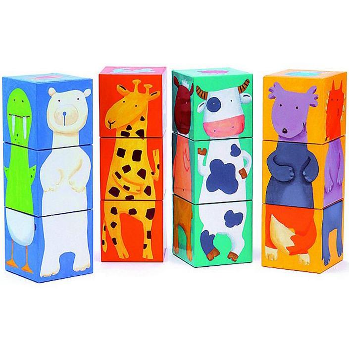 Купить Кубики - Животные, 12 штук, Djeco