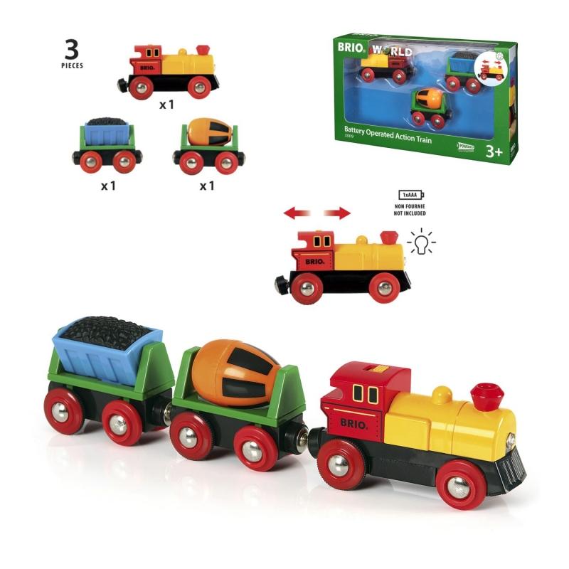 Игровой набор Грузовой поезд с бетономешалкой и грузом угля.