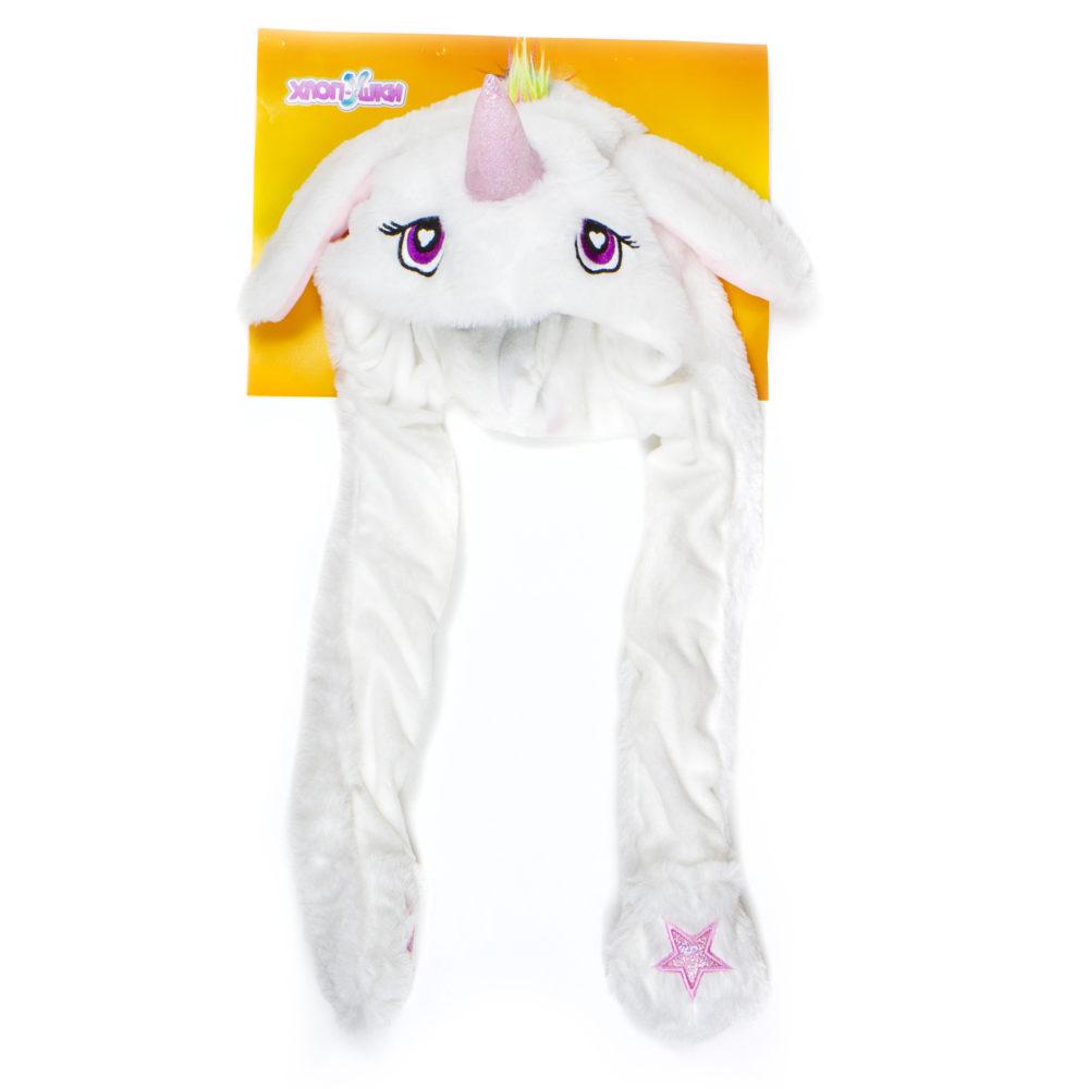 Шапка детская Единорог белый из серии Хлоп-Ушки