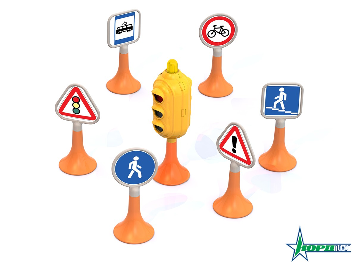 Набор - Дорожные знаки №1, светофор, 6 знаковЗнаки дорожного движения, светофоры<br>Набор - Дорожные знаки №1, светофор, 6 знаков<br>