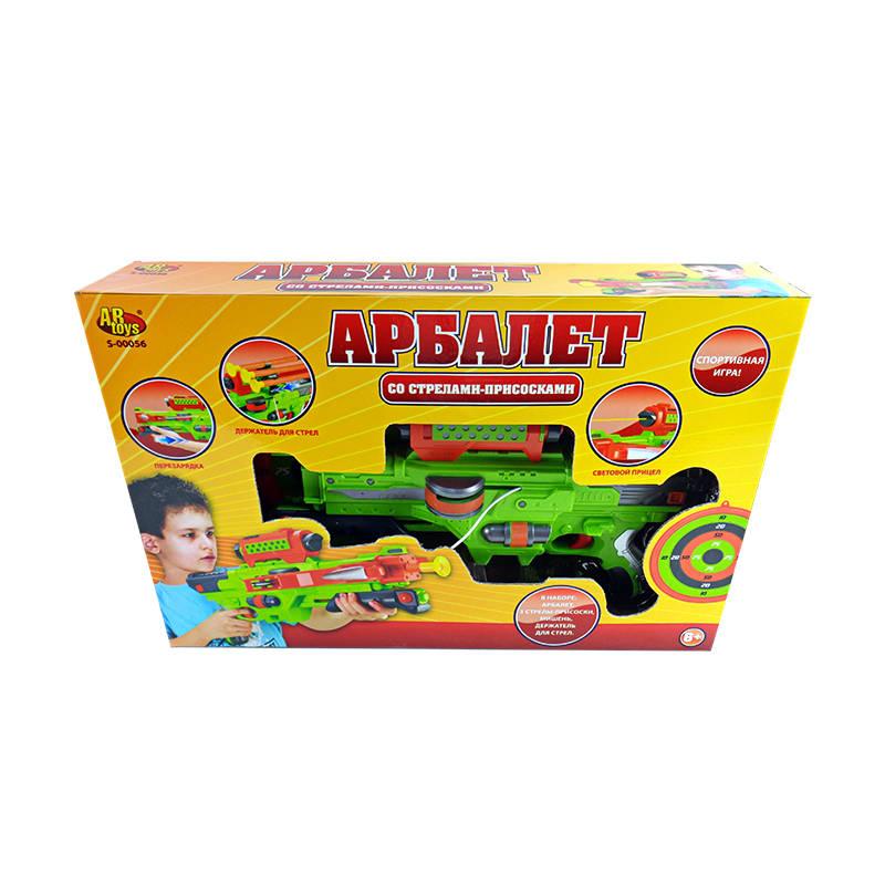 Арбалет со стрелами на присосках, мишенью и держателем для стрел, зеленый - Арбалеты и Дартс, артикул: 139795