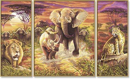Триптих Африка, 50*80 смРаскраски по номерам Schipper<br>Огромная раскраска по номерам Триптих, Африка<br>Размер готовой работы: 50 х 80 см.<br>В состав набора входят: высококачественные акриловые ...<br>