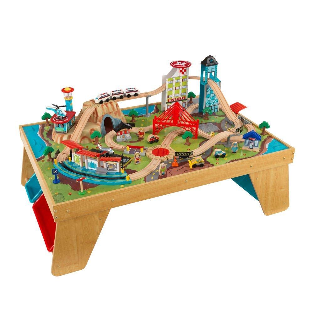Деревянная железная дорога со столом АэроситиДетская железная дорога<br>Деревянная железная дорога со столом Аэросити<br>