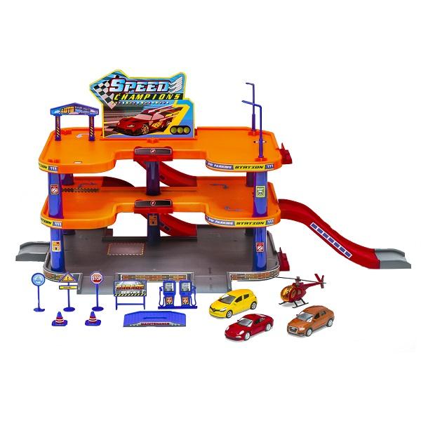 Купить Игровой набор Гараж c 3 машинами и вертолетом, Welly