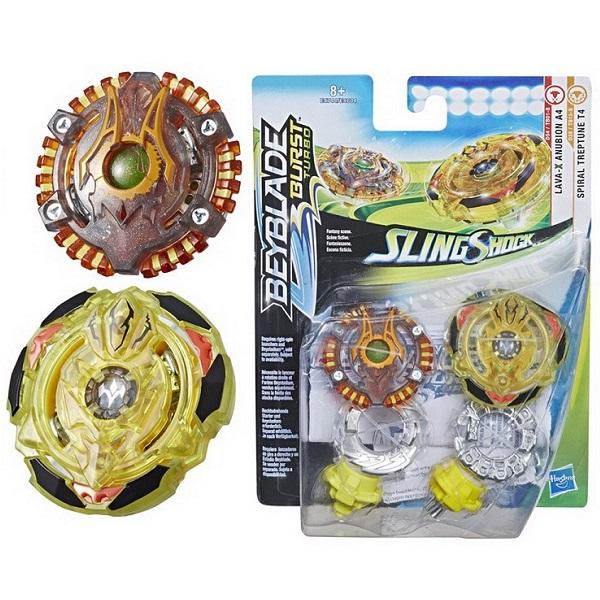 Купить Набор из 2 волчков BeyBlade Burst Слингшок - Lava-X Anubion A4 & Spiral Treptune K4, Hasbro