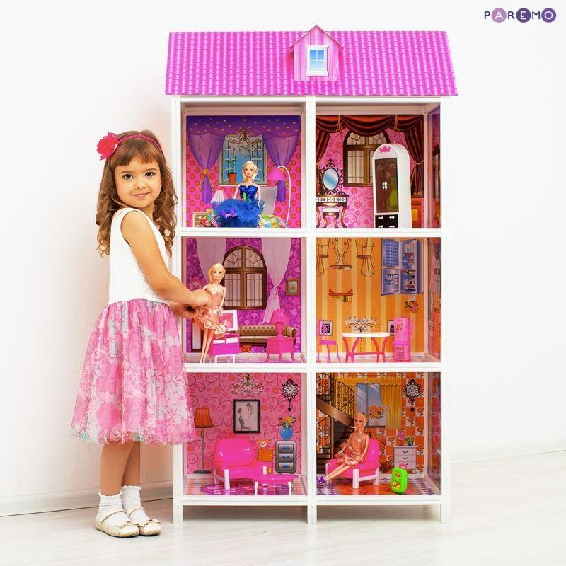 3-этажный кукольный дом, 6 комнат, мебель, 3 куклыКукольные домики<br>3-этажный кукольный дом, 6 комнат, мебель, 3 куклы<br>