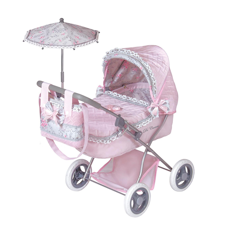 Купить Коляска с сумкой и зонтом - Романтик, розовая, 65 см, DeCuevas