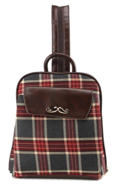 Рюкзак с клетчатым принтом BS_9387_grey-red, серо-красныйДетские рюкзаки<br>Рюкзак с клетчатым принтом BS_9387_grey-red, серо-красный<br>