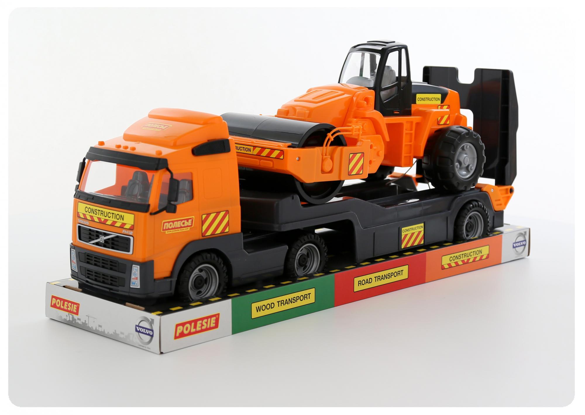 Автомобиль-трейлер Volvo и дорожный каток, в лоткеБетономешалки, строительная техника<br>Автомобиль-трейлер Volvo и дорожный каток, в лотке<br>