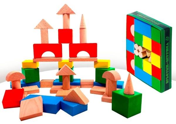 Конструктор деревянный цветной 42 деталиДеревянный конструктор<br>Конструктор деревянный цветной 42 детали<br>