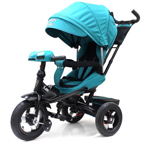 Купить Велосипед 3-колесный цвет – лазурный, с резиновыми надувными колесами 12 и 10 дюймов, складной руль, светомузыкальная панель, Lexus Trike