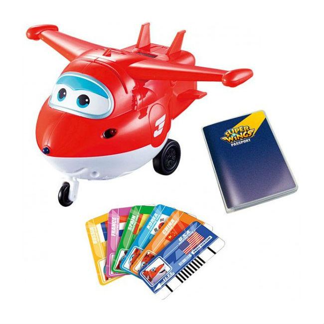 Самолет Джетт с пластиковыми карточками разных стран, свет, звук из серии Супер КрыльяСупер Крылья Super Wings<br>Самолет Джетт с пластиковыми карточками разных стран, свет, звук из серии Супер Крылья<br>