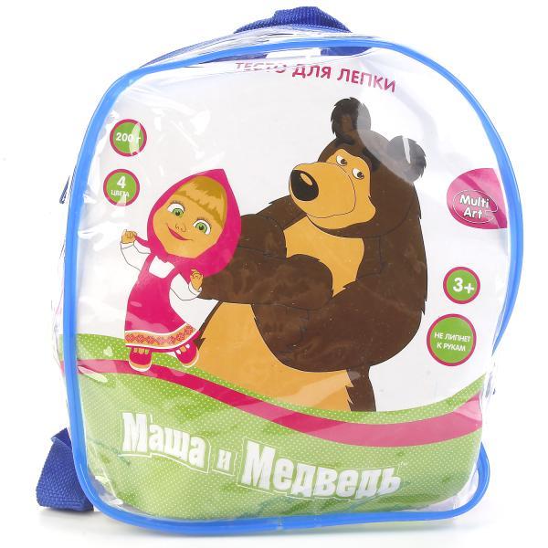 Тесто для лепки - Маша и Медведь, 4 цвета в рюкзаке Multiart