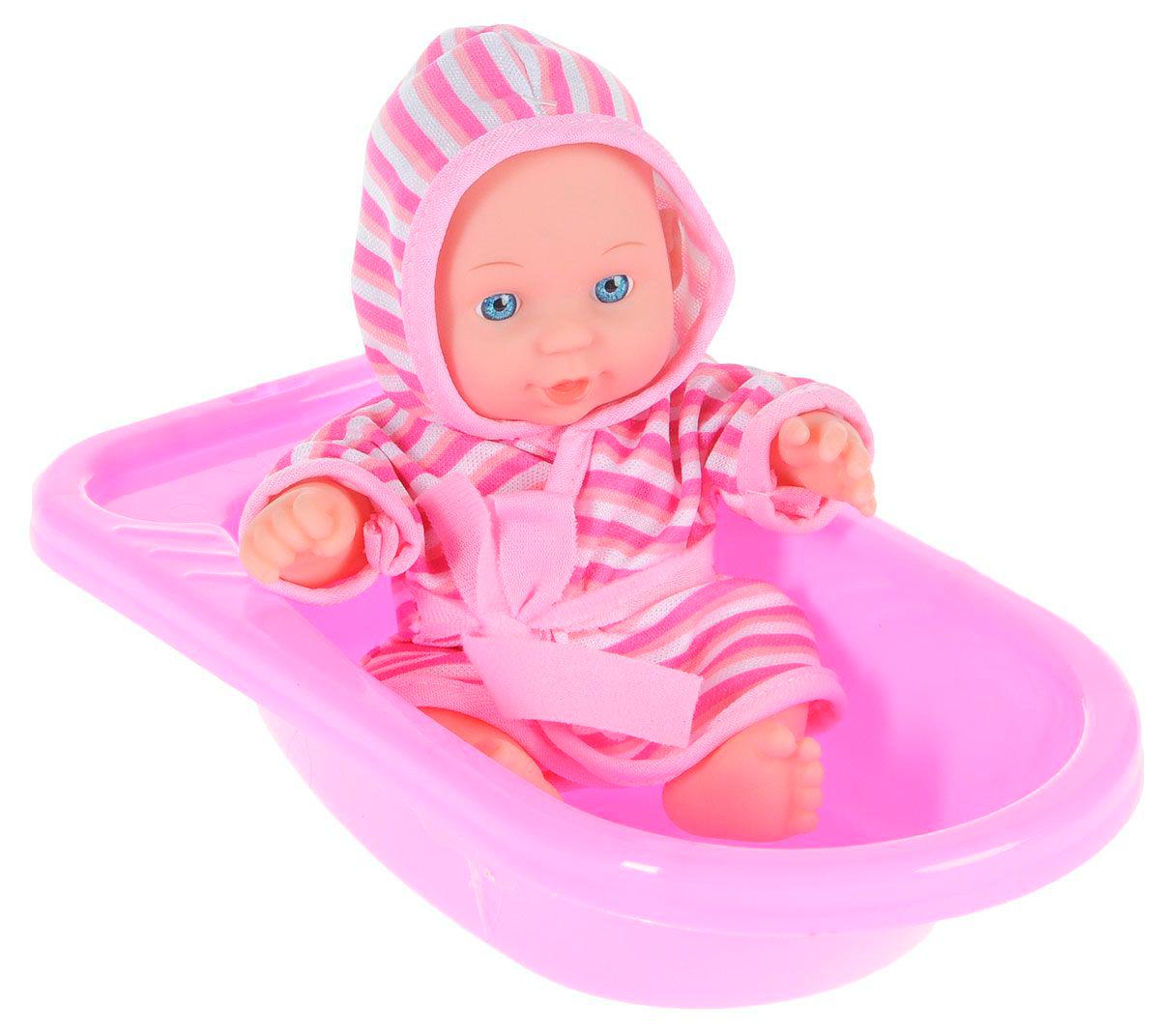 Пупс в ванночке, с аксессуарами, 20 см.