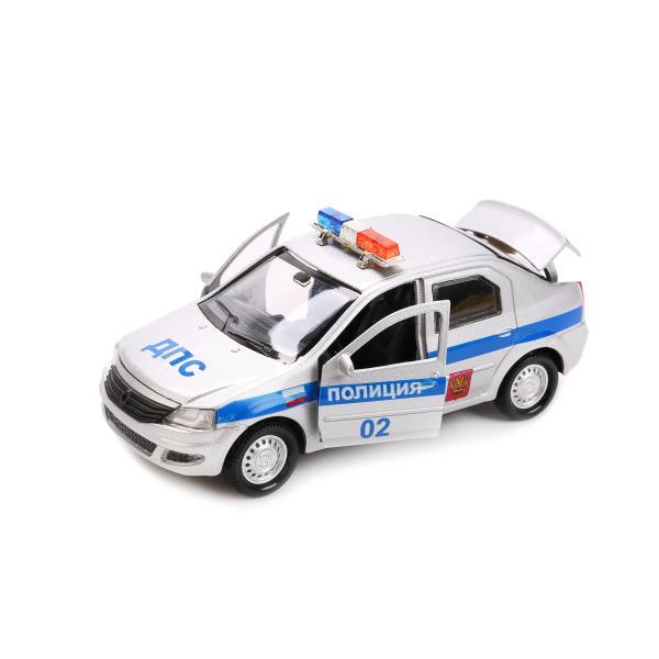 Металлическая инерционная машина - Renault Logan – Полиция, 12 смПолицейские машины<br>Металлическая инерционная машина - Renault Logan – Полиция, 12 см<br>