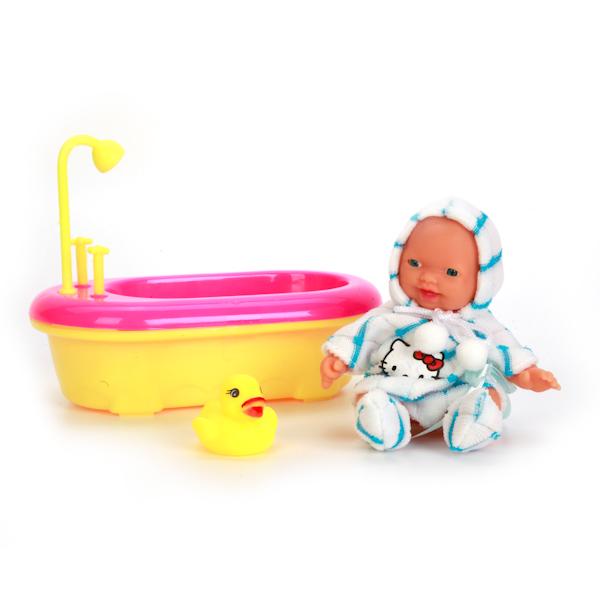Пупс из серии Hello Kitty, в бело-голубой одежде, с ванночкой и аксессуарами, 10 см.Пупсы<br>Пупс из серии Hello Kitty, в бело-голубой одежде, с ванночкой и аксессуарами, 10 см.<br>