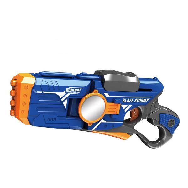 Механический бластер Blaze Storm с 20 мягкими снарядамиАвтоматы, пистолеты, бластеры<br>Механический бластер Blaze Storm с 20 мягкими снарядами<br>
