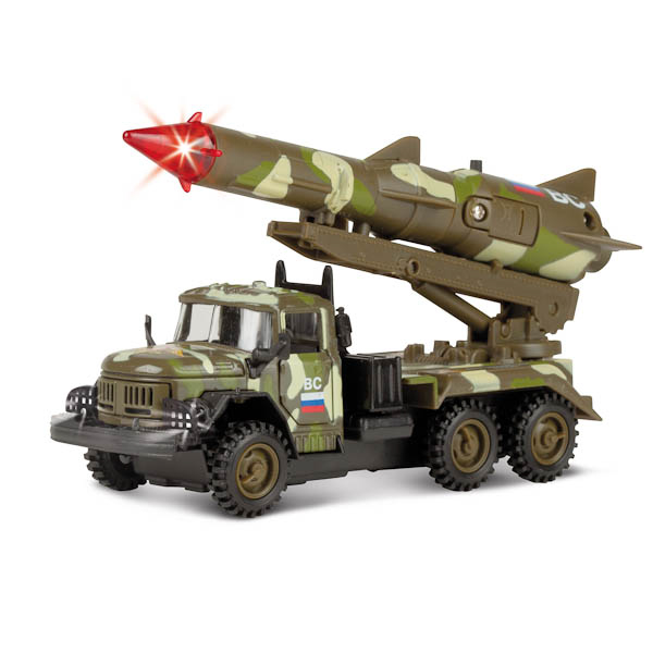 Машина металлическая инерционная ЗИЛ 131 с ракетой - Вооруженные силы, со световыми и звуковыми эффектами