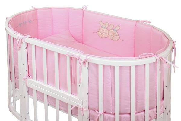 Комплект в кроватку - Leprotti, 6 предметов, розовыйДетское постельное белье<br>Комплект в кроватку - Leprotti, 6 предметов, розовый<br>