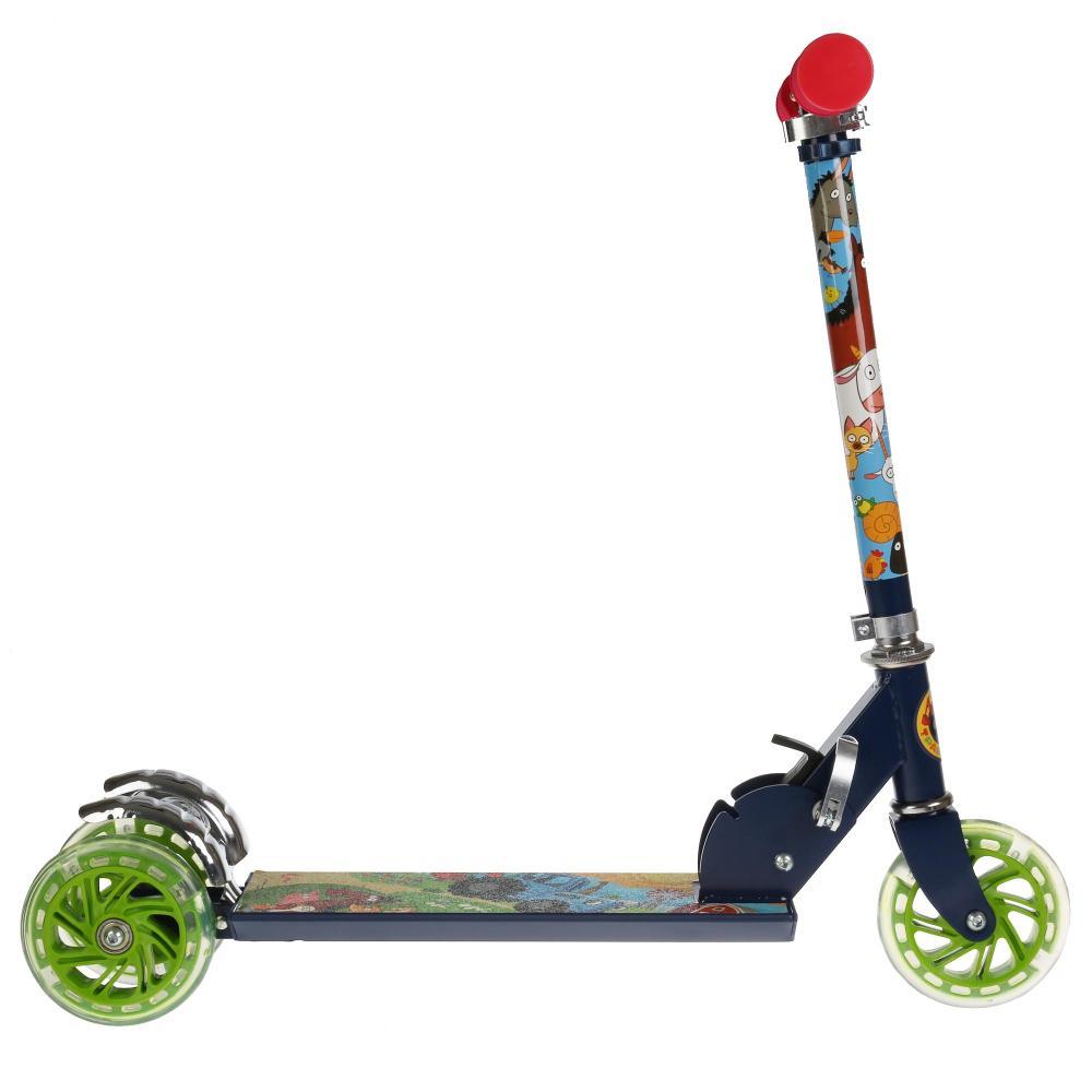 Купить Самокат 3 колесный складной - Синий трактор, 50% алюминий, колеса ПВХ 120, светящиеся, ABEC-5, Next