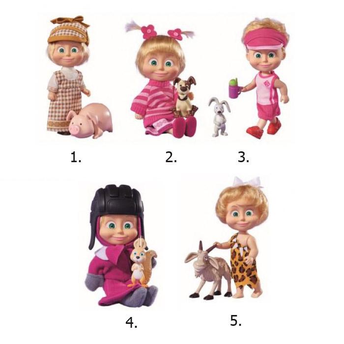 Кукла Маша в разных одеждах с друзьями-животными, 12 см. - Маша и медведь игрушки, артикул: 143887