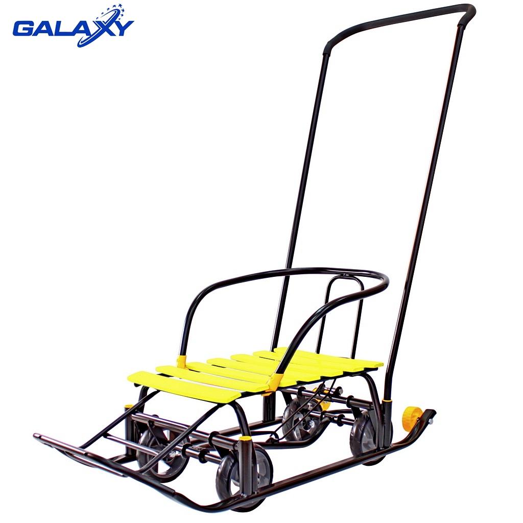 Снегомобиль Snow Galaxy Black Auto с желтыми рейками на больших мягких колесахСанки и сани-коляски<br>Снегомобиль Snow Galaxy Black Auto с желтыми рейками на больших мягких колесах<br>