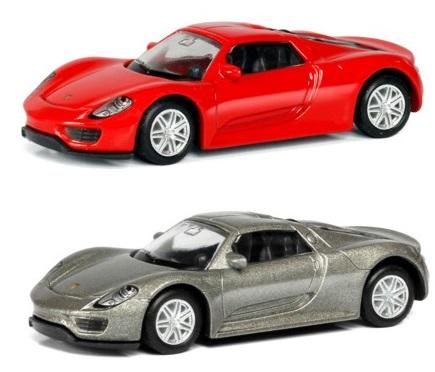 Машина металлическая Porsche 918 Spyder, 1:64, 2 цвета – красный или серыйPorsche<br>Машина металлическая Porsche 918 Spyder, 1:64, 2 цвета – красный или серый<br>