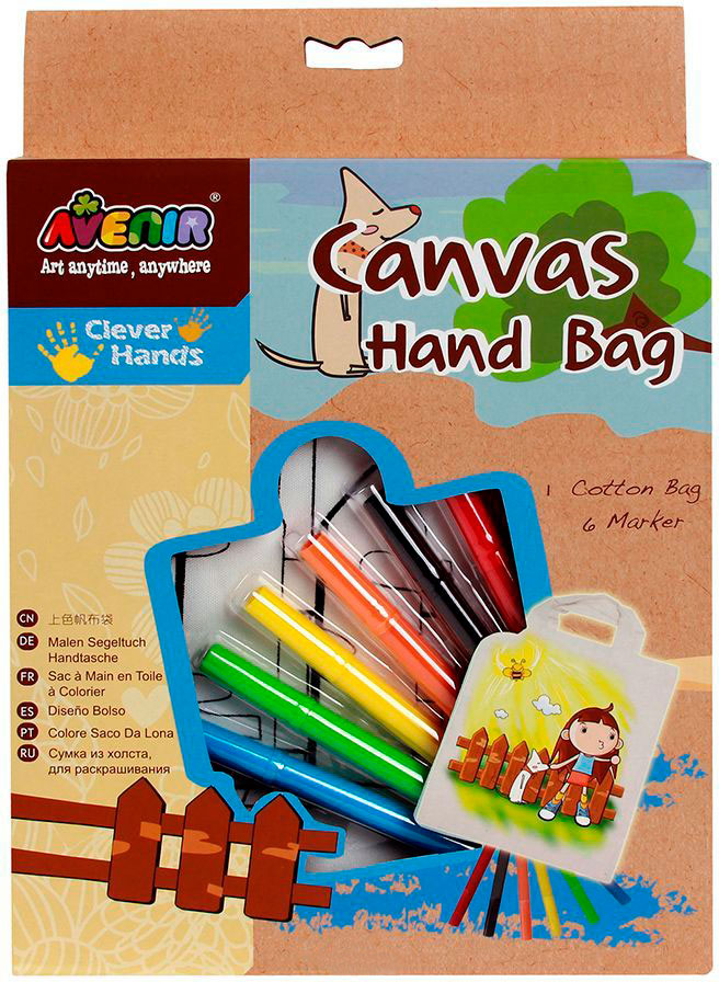 Набор для раскрашивания сумки из холста - ДевочкаРоспись по ткани<br>Набор для раскрашивания сумки из холста - Девочка<br>