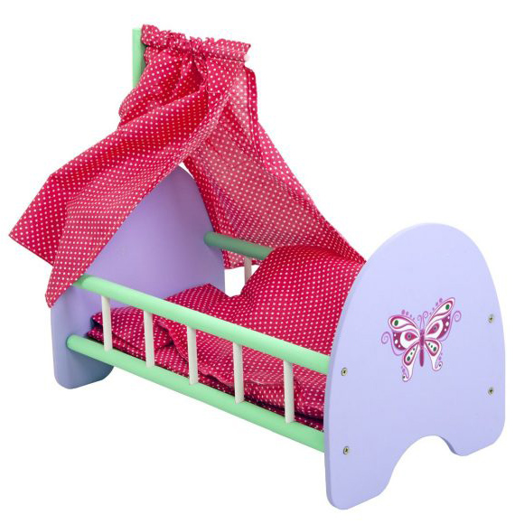 Кроватка деревянная с пологом Бабочка, 53 х 30 х 25 см.
