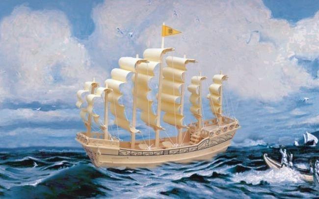 Сборная деревянная модель - Парусник Династии МиньПазлы объёмные 3D<br>Сборная деревянная модель - Парусник Династии Минь<br>