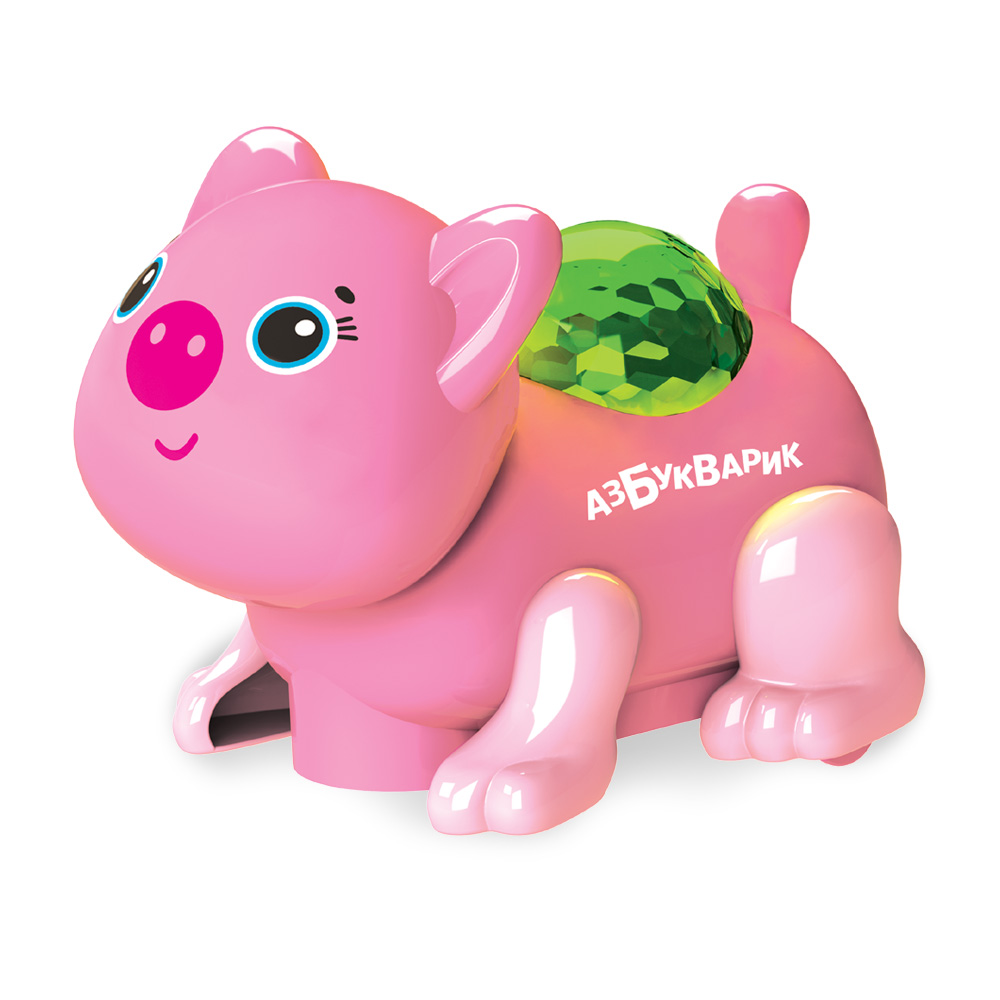 Купить Музыкальная игрушка из серии Диско-зверята – Свинка, темно-розовая, свет и звук, Азбукварик