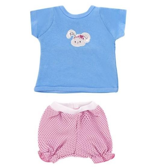 Одежда для куклы размером 38-43 см. - футболка с зайкой и шортыОдежда для кукол<br>Одежда для куклы размером 38-43 см. - футболка с зайкой и шорты<br>