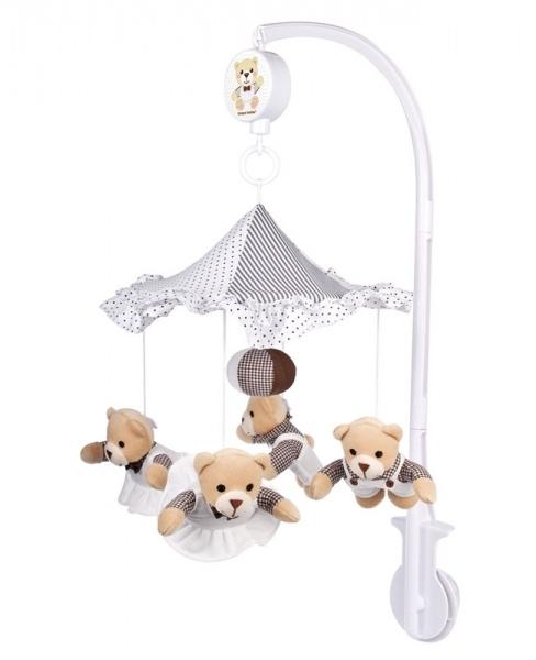 Музыкальная карусель – Плюшевые медвежата под зонтикомМобили и музыкальные карусели на кроватку, игрушки для сна<br>Музыкальная карусель – Плюшевые медвежата под зонтиком<br>