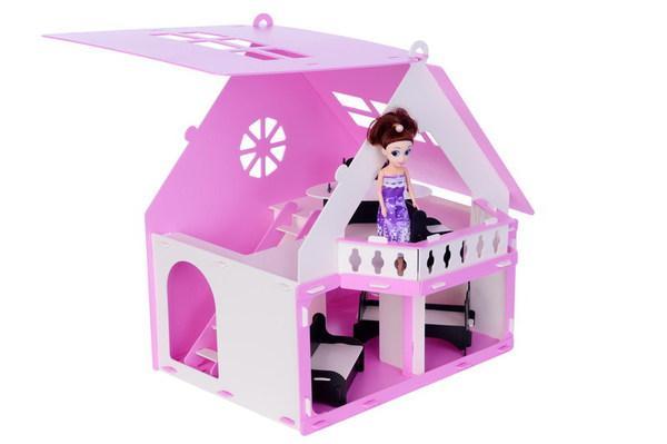Домик для кукол - Дачный дом Варенька, бело-розовый, с мебелью